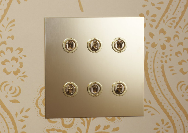 Unlacquered brass six-gang dolly switch
