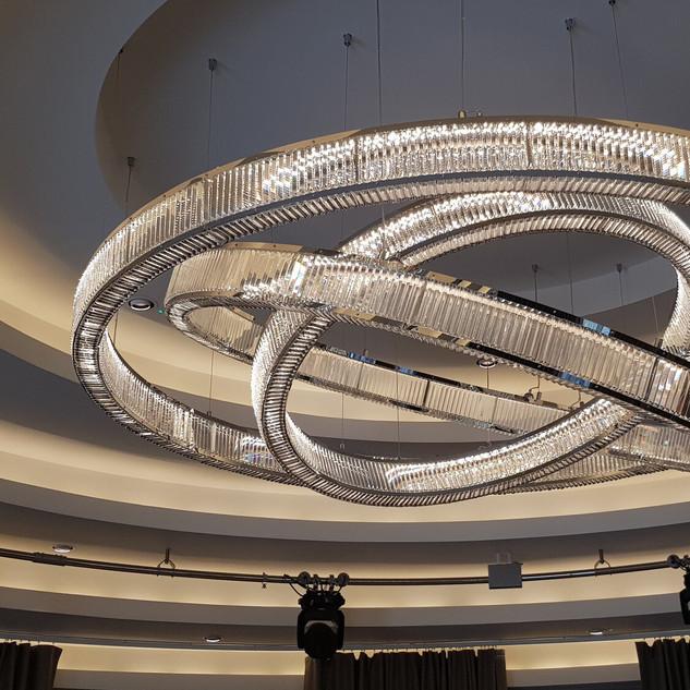 Bespoke crystal rings chandelier