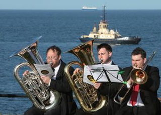 Brass players during the Foghorn Requiem