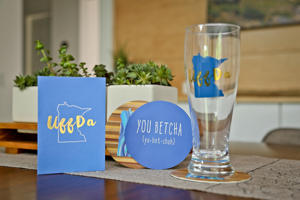 Uff Da Notecards, Beer Glass and You Betcha Coasters