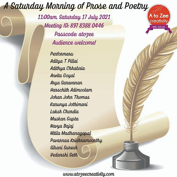 2021: A Saturday Morning of  Prose and Poetry