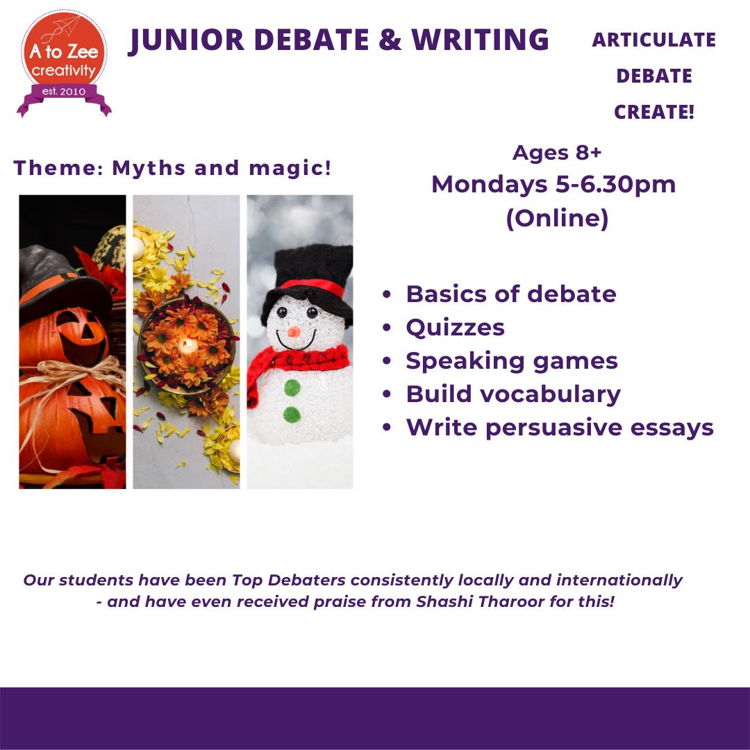 Junior Debate (8+yrs) -Mon 5-6.30pm