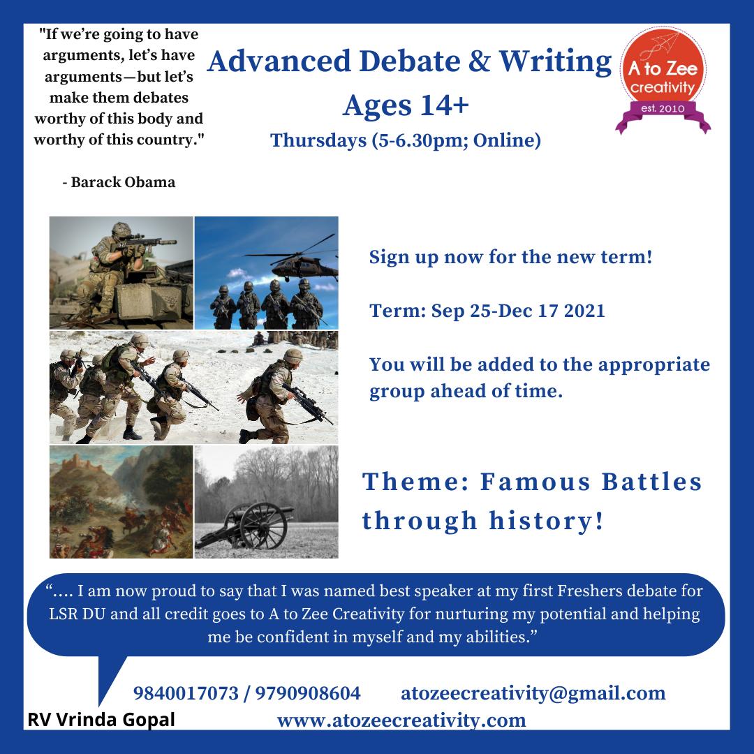 Advanced Debate (14+yrs) Thu  5-6.30pm