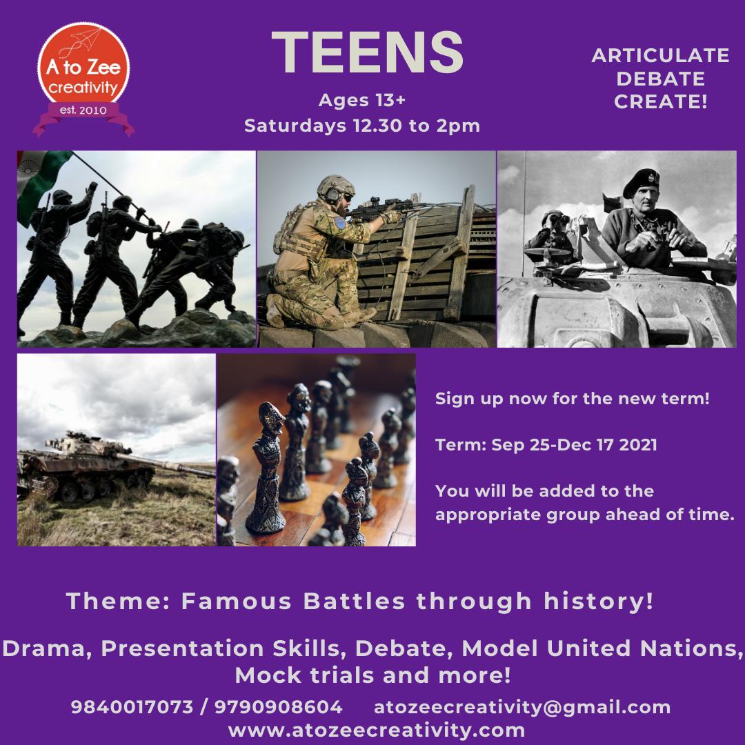 Teens (13+ yrs) - Sat 12.30-2pm