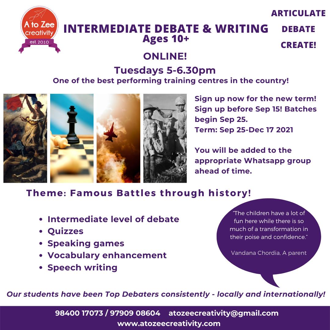 Intermediate Debate (10+yrs)Tue 5-6.30pm