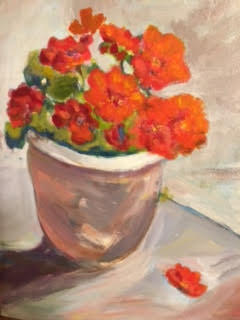 """Red Flowers in a Pot"" $200"