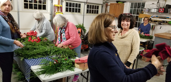 Decorating wreaths and swags