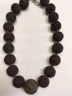 Antiqued jade and brown lava rock necklace    $80