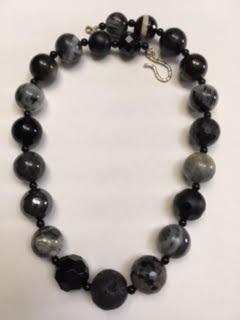 Black and gray semi-precious stone necklace   $95