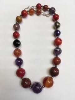 Red, orange, and purple semi-precious stone necklace   $95