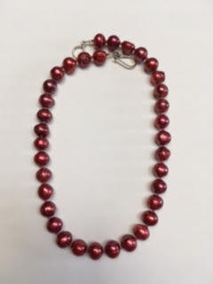 Red freshwater pearl necklace   $60