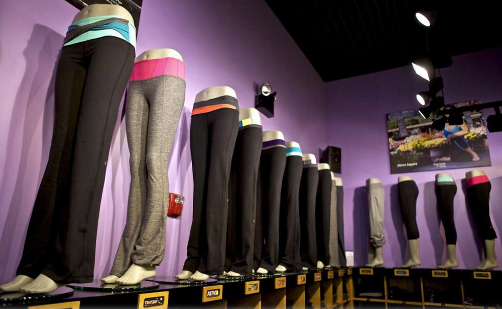 Athleisure ware on display at a New York City store.