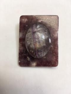 Flourite atop leopoldite pin / pendant   $25