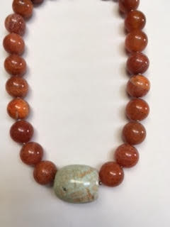 Crackled red agate with magnesite center necklace   $80