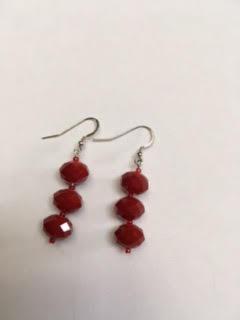 Red Czech glass earrings   $22