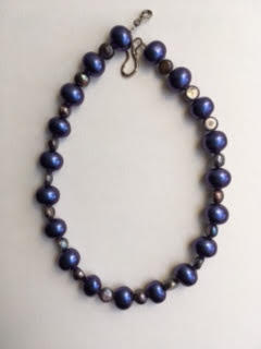 Purple shell pearl and freshwater pearl necklace   $65