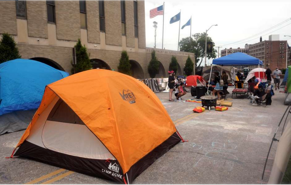 A group of protesters camped out in front of police headquarters in Bridgeport last week.