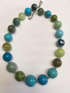 Blue and green semi-precious stone necklace   $95