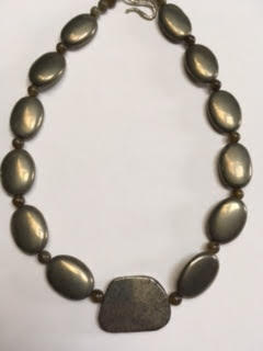 Pyrite necklace with labradorite spacers   $90