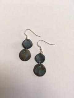 Patinated silver casting earrings   $25