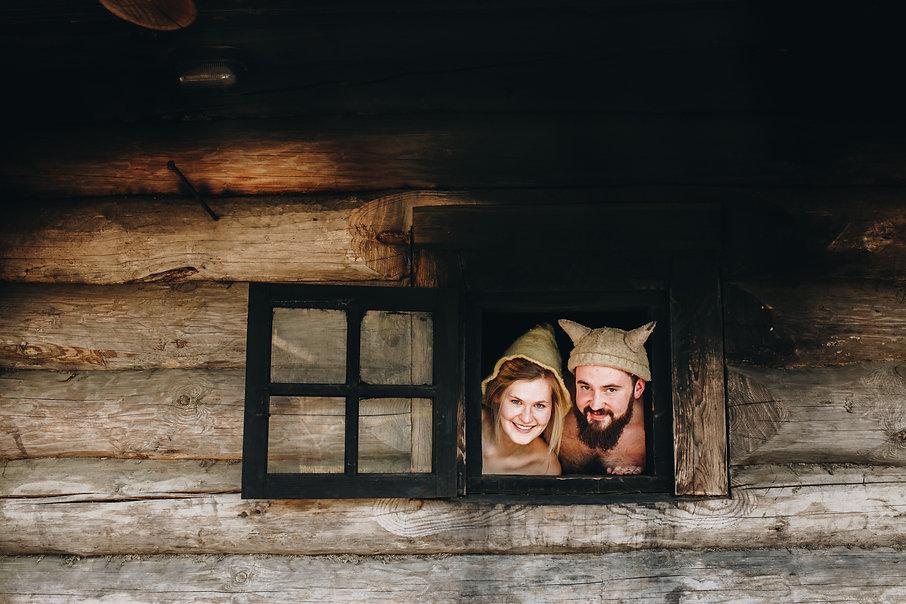 Anni Oviir and Adam Rang looking out the sauna 2.JPG