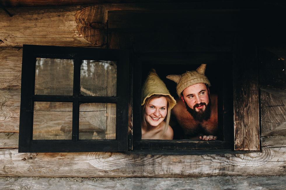 Anni Oviir and Adam Rang looking out the sauna 1.JPG