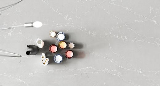white and grey quartz counters