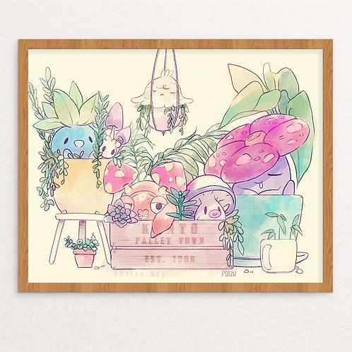 PokeGarden Print | Poster | Pokemon | Garden | Succulent | Plants | Wall Art | W