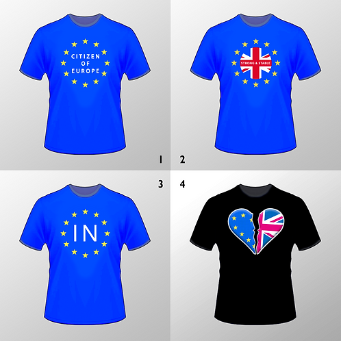 Pro-European Union T Shirts (Blue / Black) Various Designs