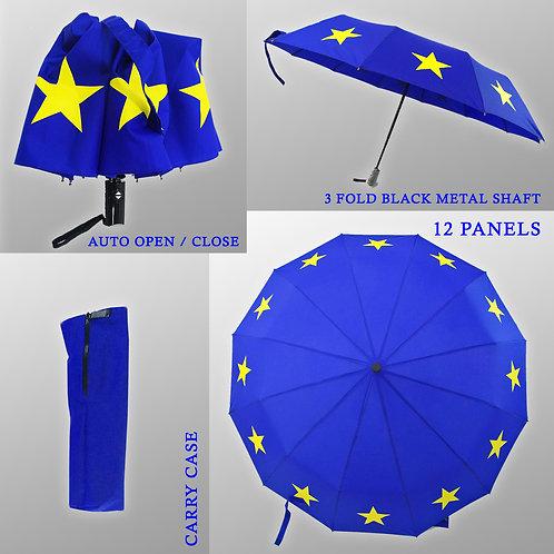 Pro EU Compact 12 Panel 12 Star Umbrella | 12 Star Flag of Europe Design | Anti Brexit Merchandise | Gifts