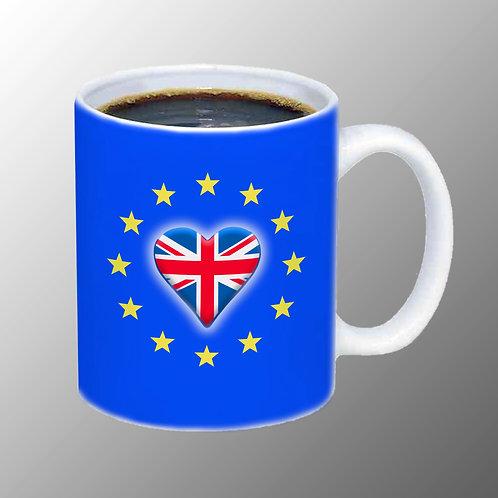 Pro EU UK EU Heart Mug   European Union Merchandise   Remain Gifts   Stop Brexit Shop   Europe Merch