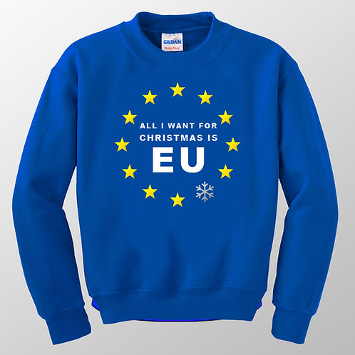 All I Want For Christmas Is Sweatshirt | Pro EU Clothing | Anti Brexit Merchandise | Peoples Vote Sweatshirt | European Union