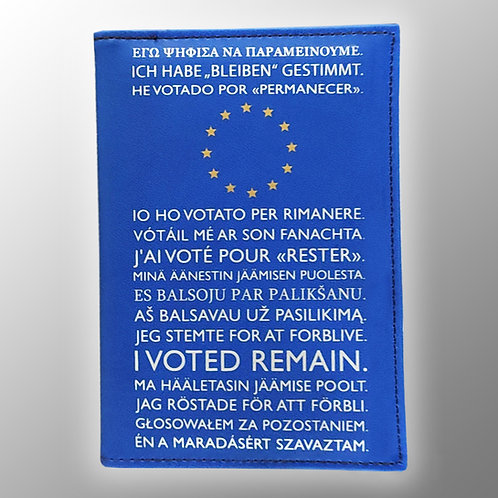 I Voted Remain Pro EU Passport Cover Gold Stars & Silver Tex | Passport Holder | European Union Gift | Brexit | Merchandise
