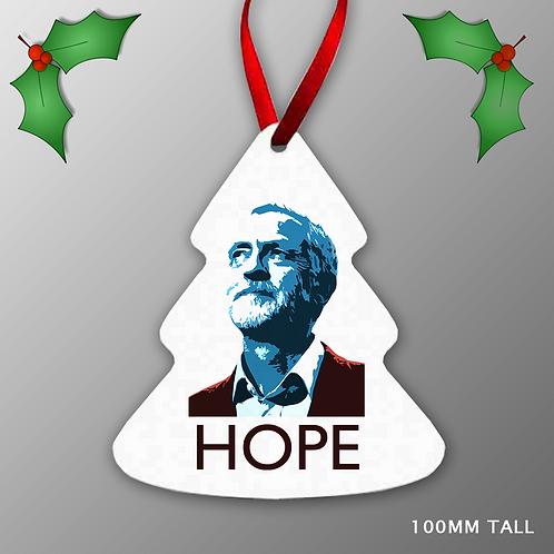 Jeremy Corbyn HOPE Christmas Tree Decoration