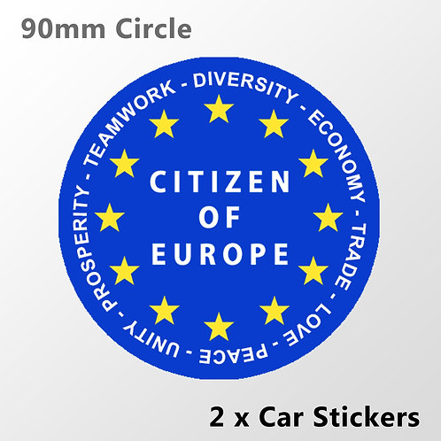 Citizen of Europe Car Stickers NEW | Antyi Brexit Merchandise | Pro EU Gifts
