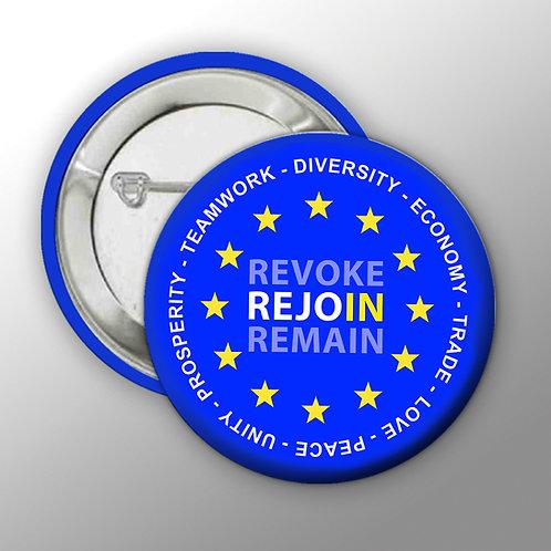 REJOIN EU Large Badge | European Union Merchandise | Remain Gifts | EU Badges | Europe Merch | I Heart EU