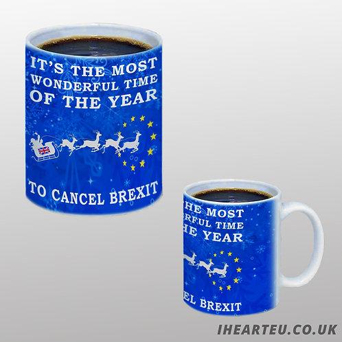 Pro EU Cancel Brexit Christmas Mug | European Union Merchandise | Remain Gifts | Stop Brexit Shop | Europe Merch