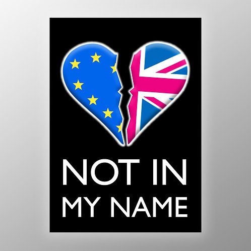 NOT IN MY NAME A4 Poster | Pro EU Posters | Pro EU Placards | Anti Brexit Merchandise | Art | Gifts