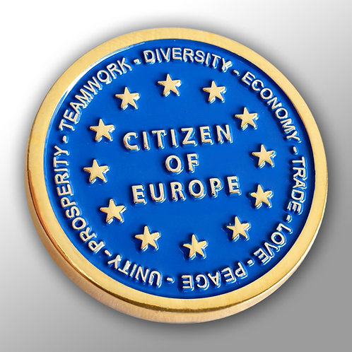 Citizen of Europe Gold Plated Lapel Pin Badge | Anti Brexit | Pro EU | Gift | Merchandise