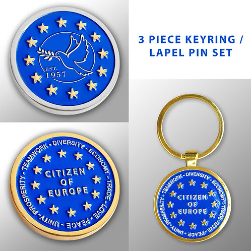 Pro EU Keyring and Lapel Pin Set