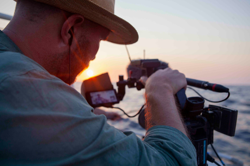Peter Bryng shoot during sunset in Crete. Hereunder the production of Norwegian Rednex on holiday, TV-series