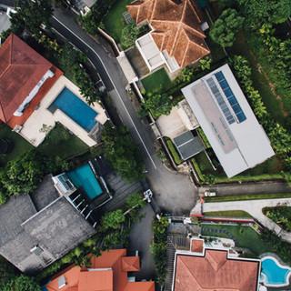 Vista aérea de casas de lujo