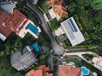 Vista aérea de casas de luxo