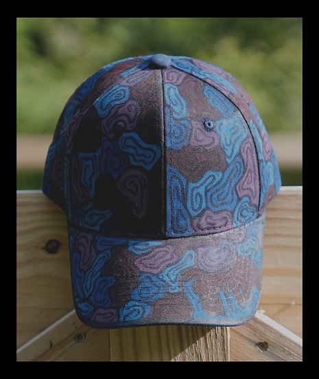 Blue and red camo hat