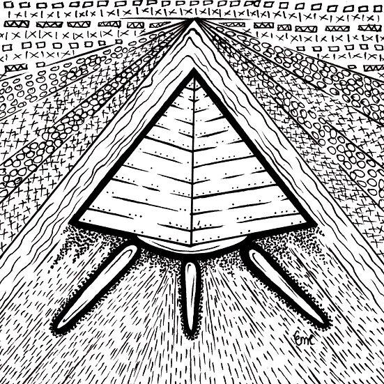 pyramid Ship pen drawing