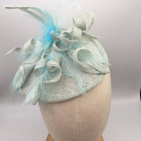 Delia - Pale turquoise sinamay fascinator