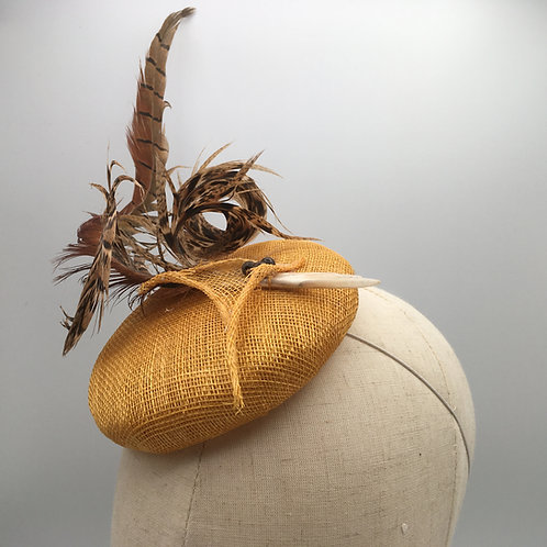 Mary - Small mustard sinamay fascinator with pheasant feathers