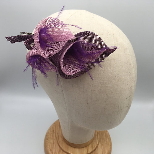 Ellie - fascinator hair clip with 3 pink and purple sinamay lilies