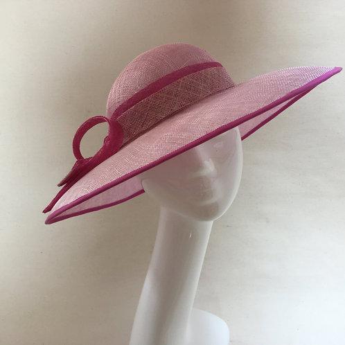Jan - Pink sinamay hat with large brim