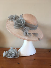 pink sinamay straw picture hat